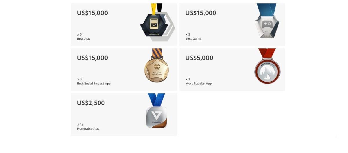 Medalhas de aplicação Huawei