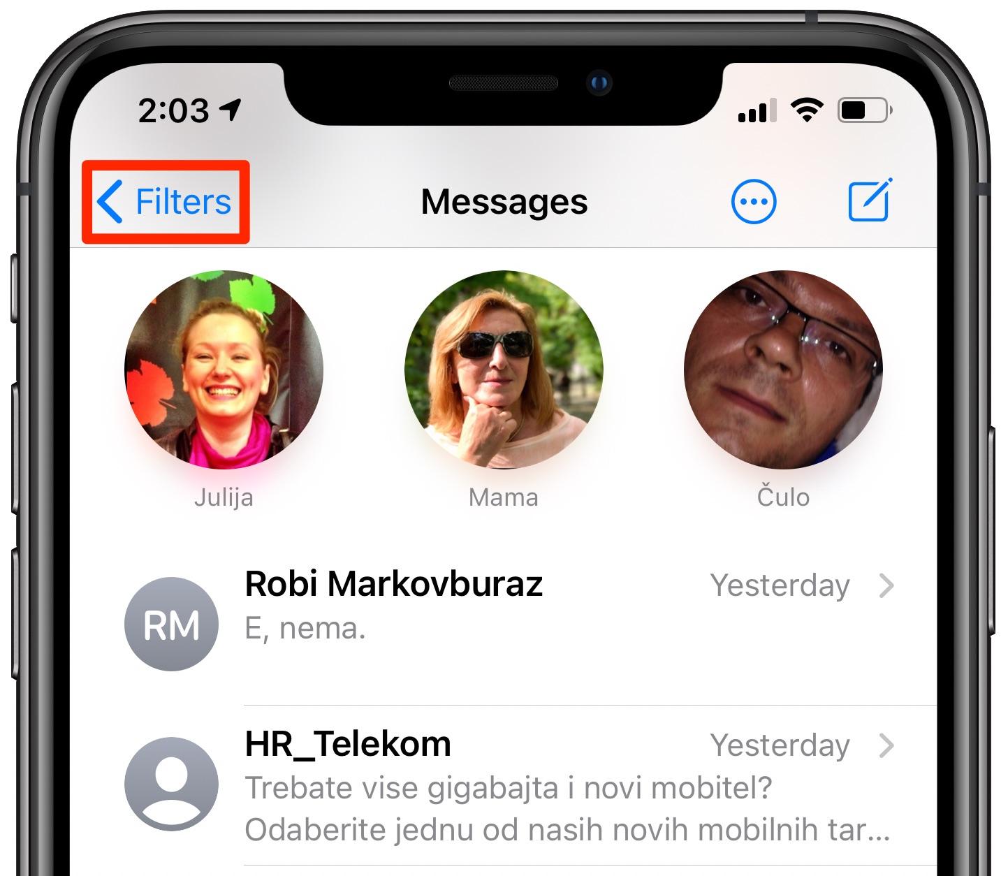 Filtrovanie správ v systéme iOS 14 - Tlačidlo Filtre