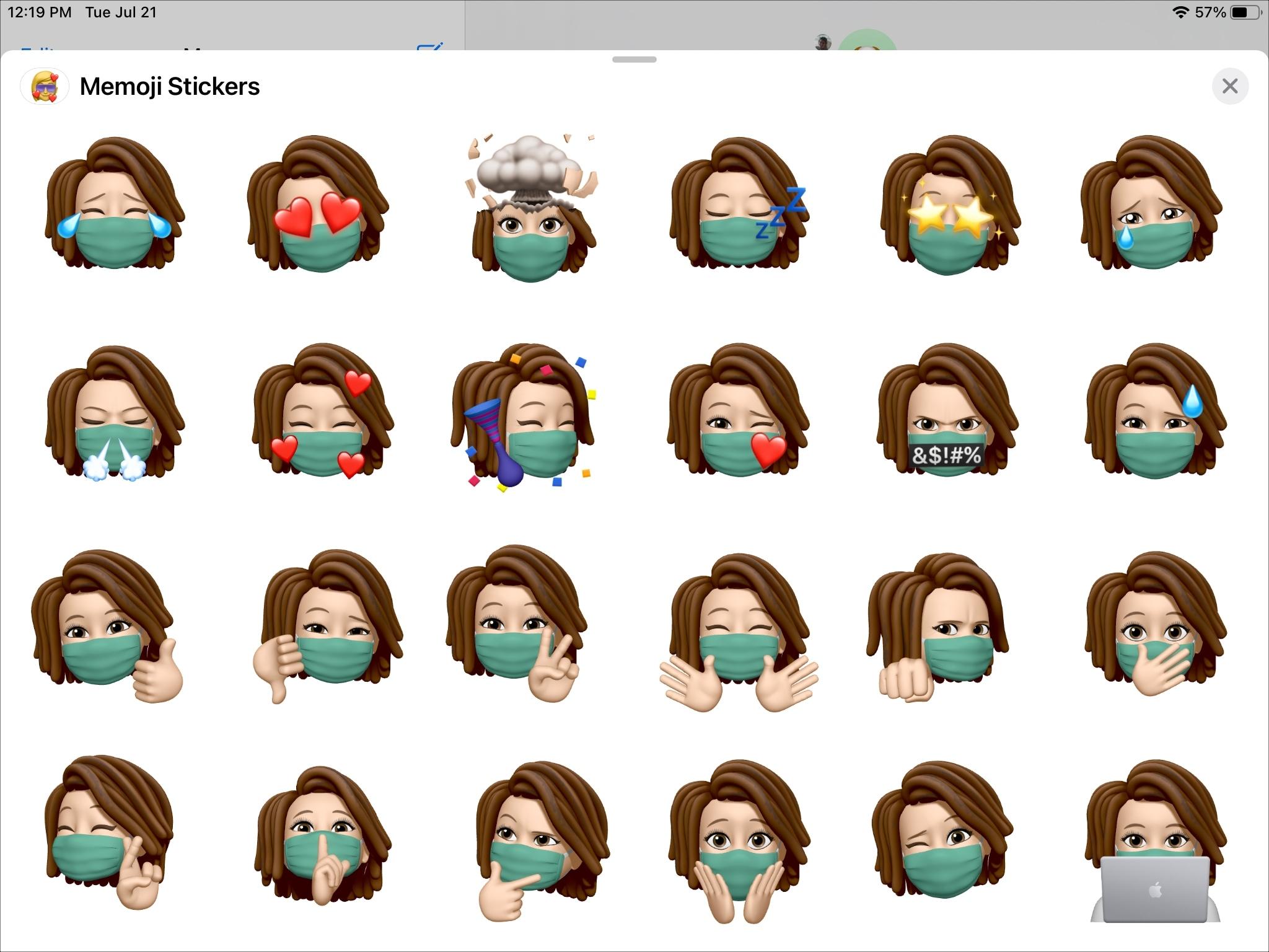 Memoji com cobertura de rosto no iPad
