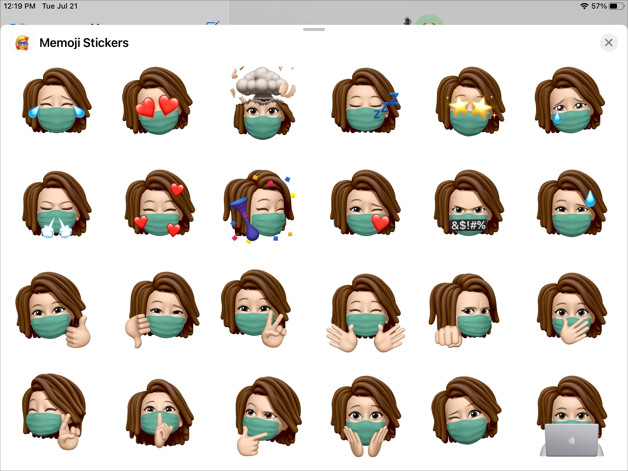 Memoji s krytom tváre na iPade