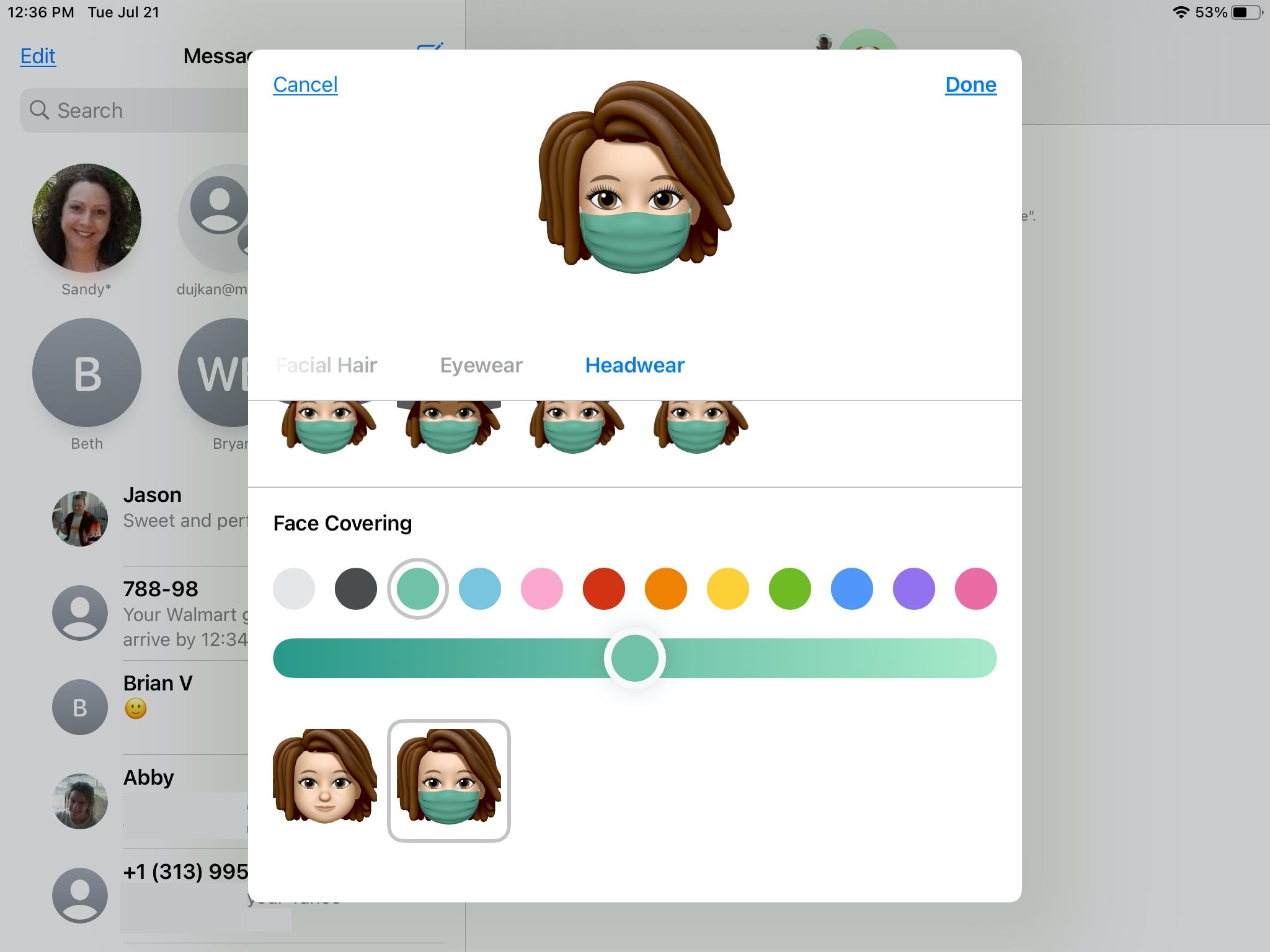 Memoji Adicione uma capa de rosto no seu iPad