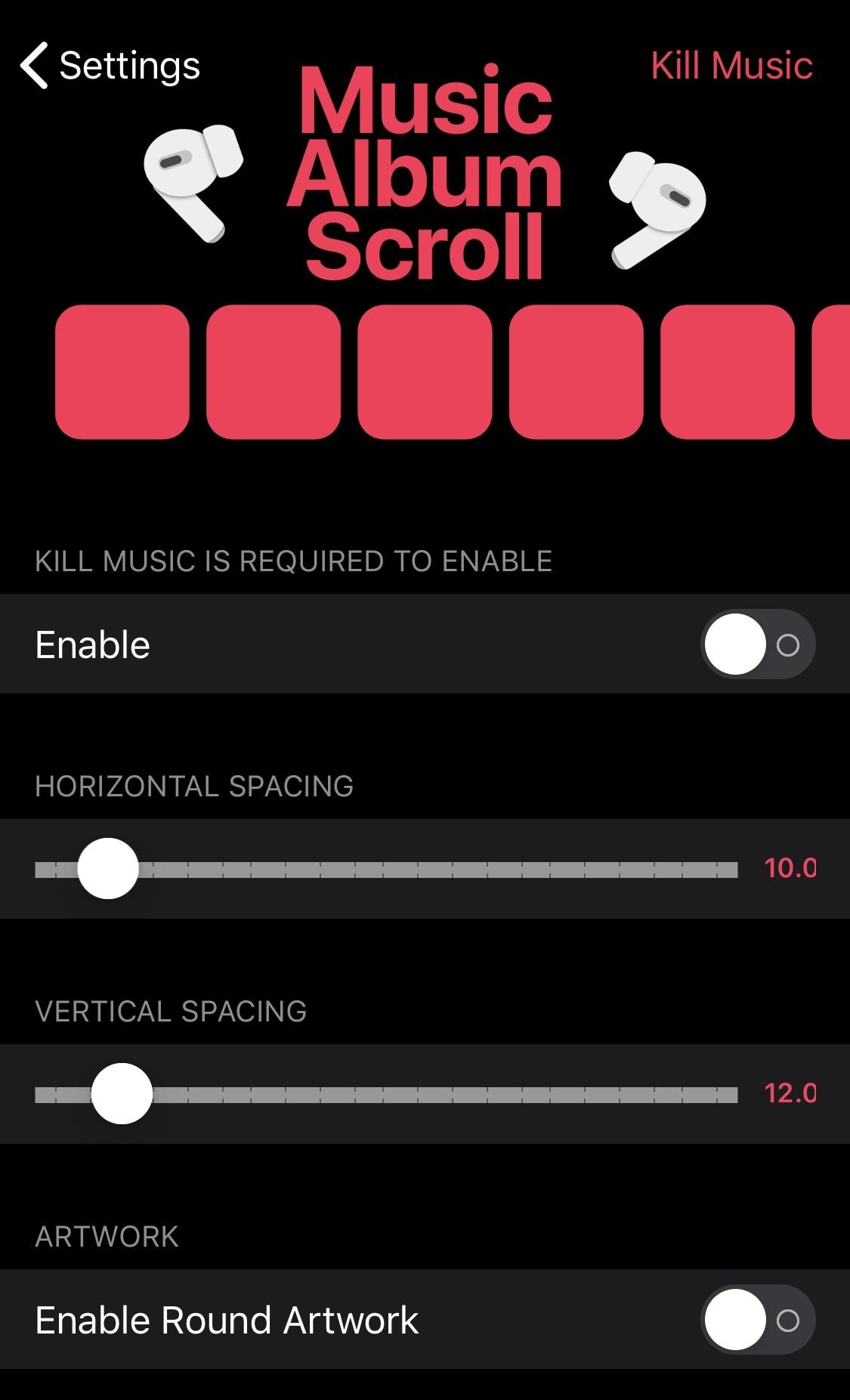 MusicAlbumScroll Zvýšenie dynamiky Apple Hudobná aplikácia s novými gestami a ďalšími 3