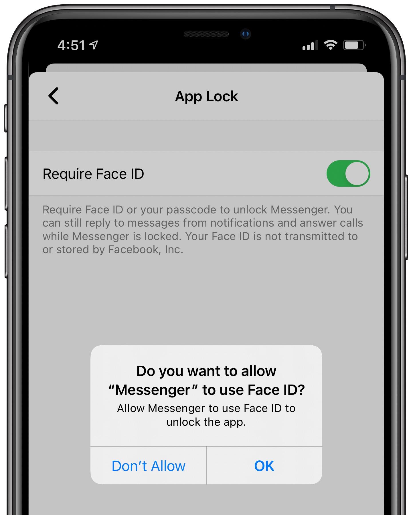 Facebook    Messenger  Face ID - výzva, či chcete túto funkciu povoliť