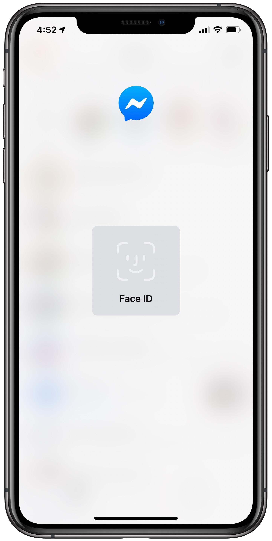 Facebook        ID tváre Messenger - rozmazaná obrazovka