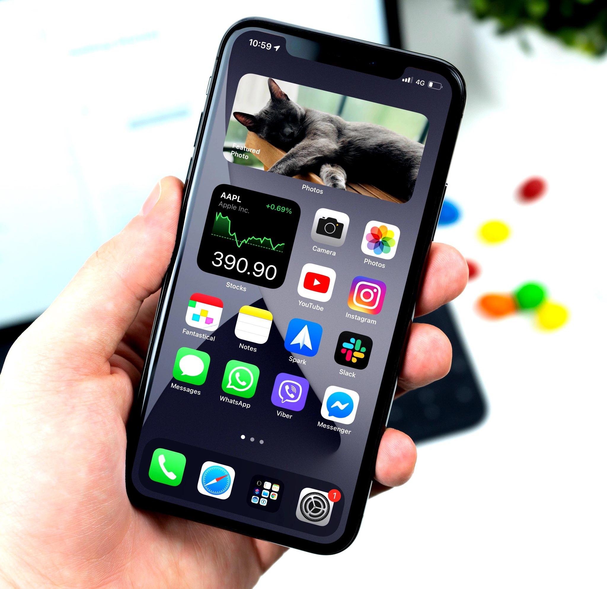 Widgets de pilha inteligente no iPhone - outro exemplo da tela inicial