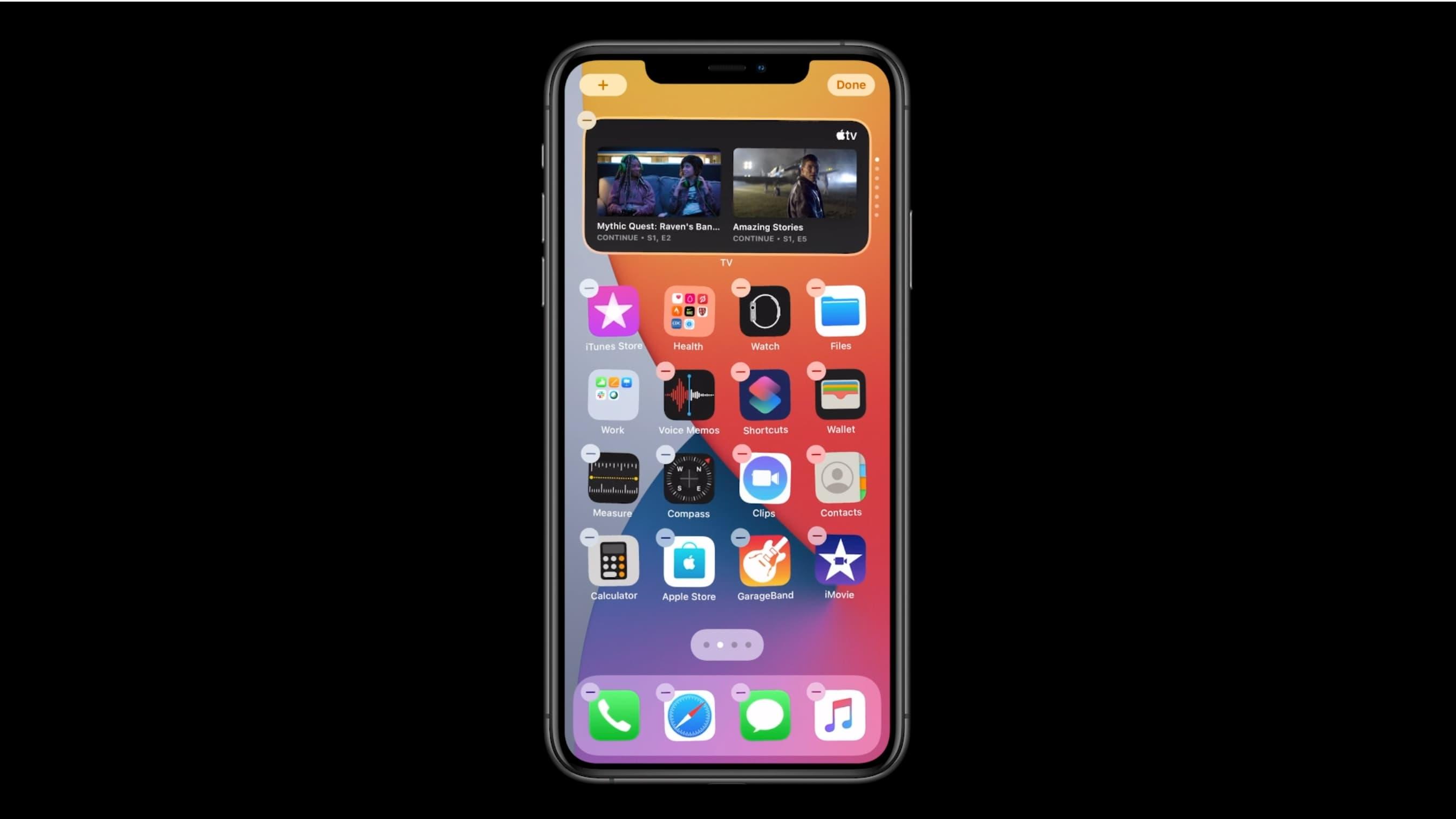 Widgets do Smart Stack no iPhone - tela inicial de exemplo