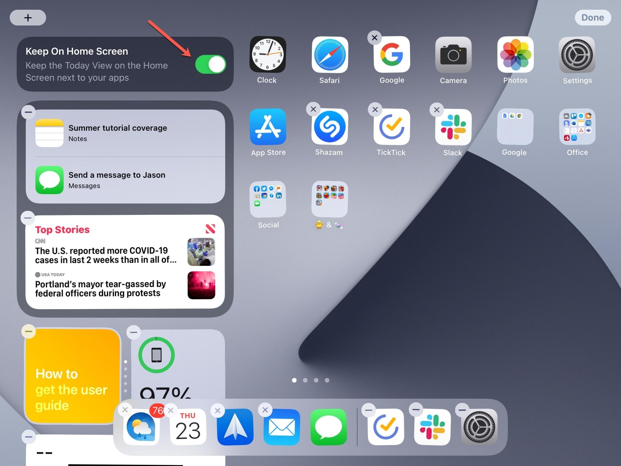 Mantenha na tela inicial do Hoje para ver o iPad
