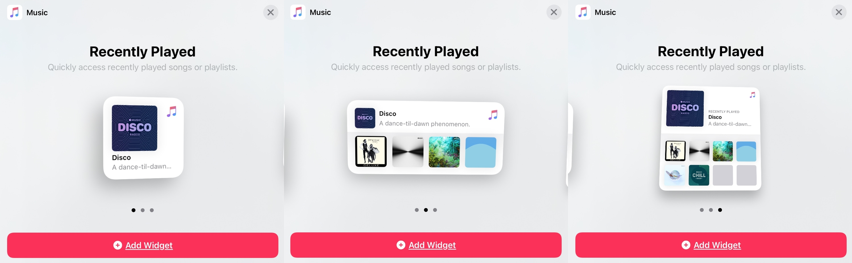 Tamanhos do iPad da galeria de widgets de música