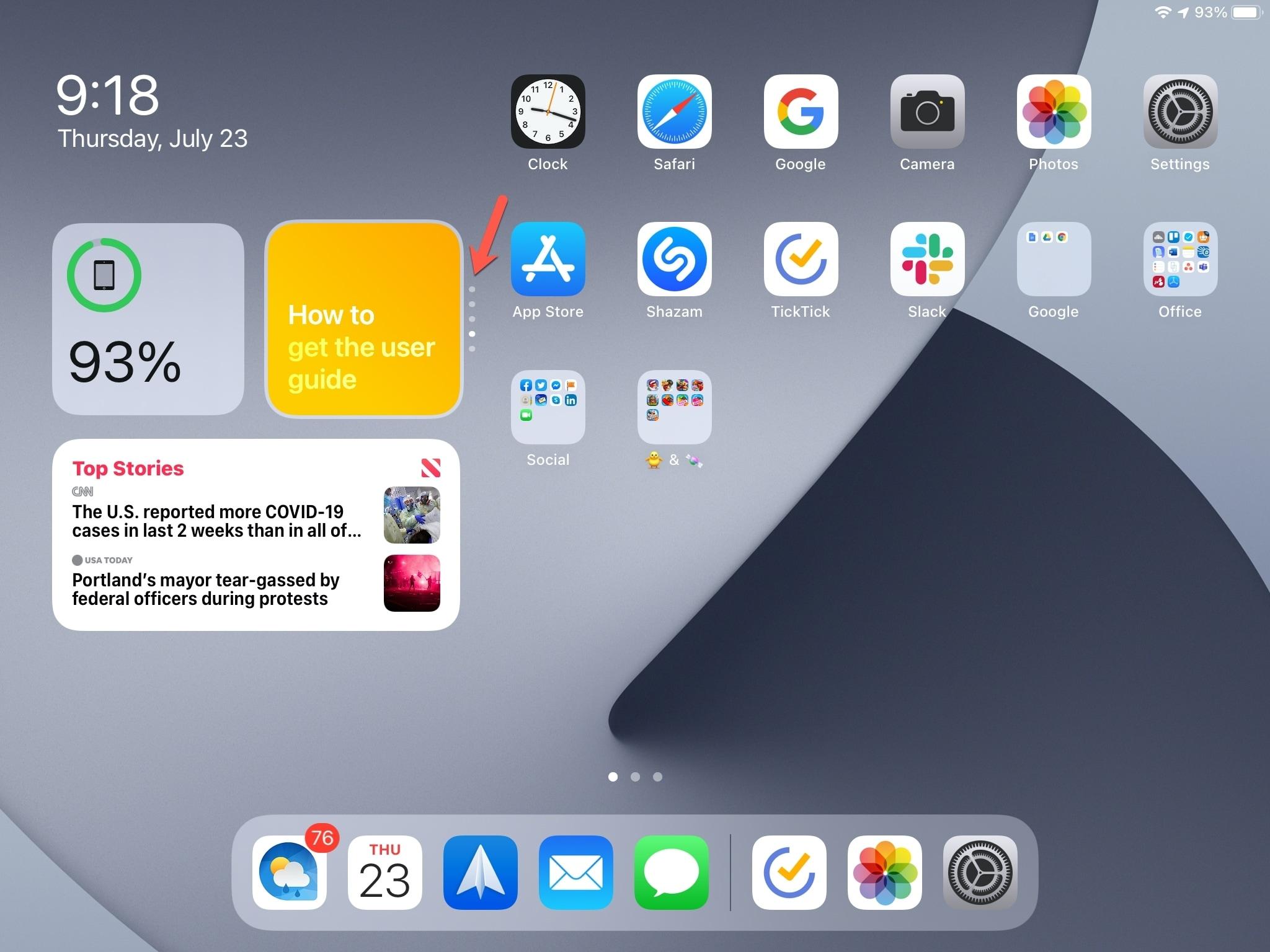 Gire a pilha inteligente do iPad