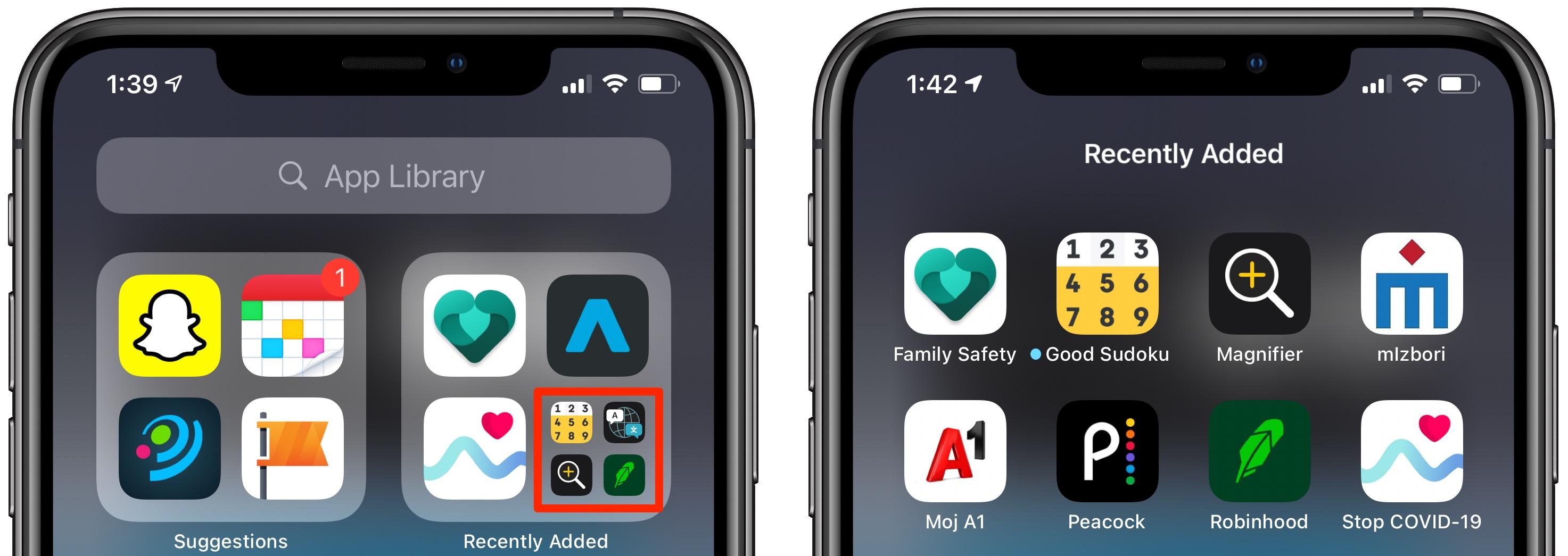 Ostatnio zainstalowane aplikacje na iPhone'a - Biblioteka aplikacji pokazująca rozszerzony folder Ostatnio dodane