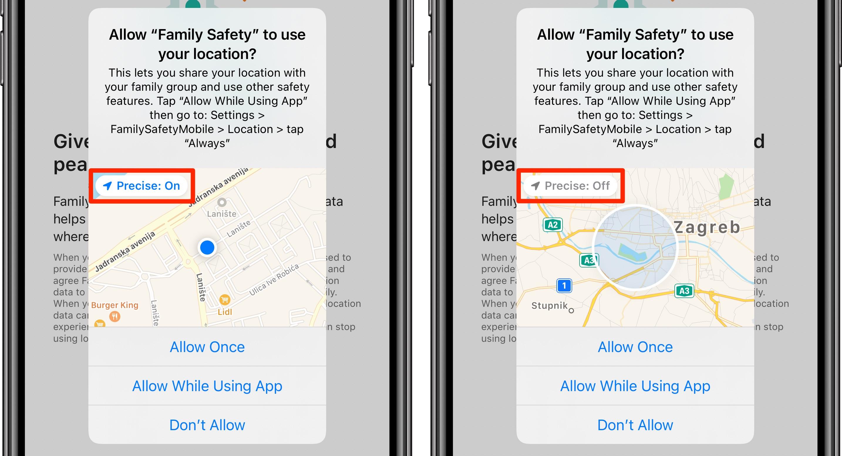 Udostępnij przybliżoną lokalizację - prośba o pozwolenie aplikacji