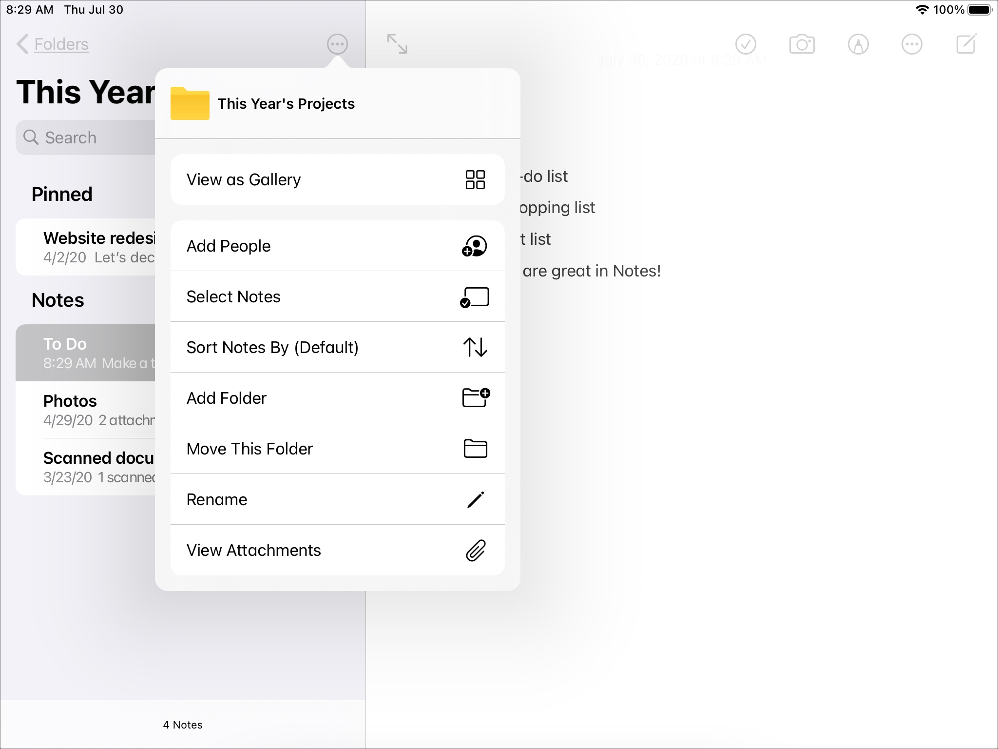 Menu czynności dotyczących folderów iPad