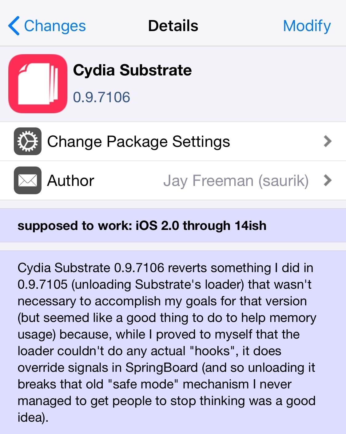 Cydia Substrate dostane ďalšiu aktualizáciu menšej verzie 0,90,7106 1