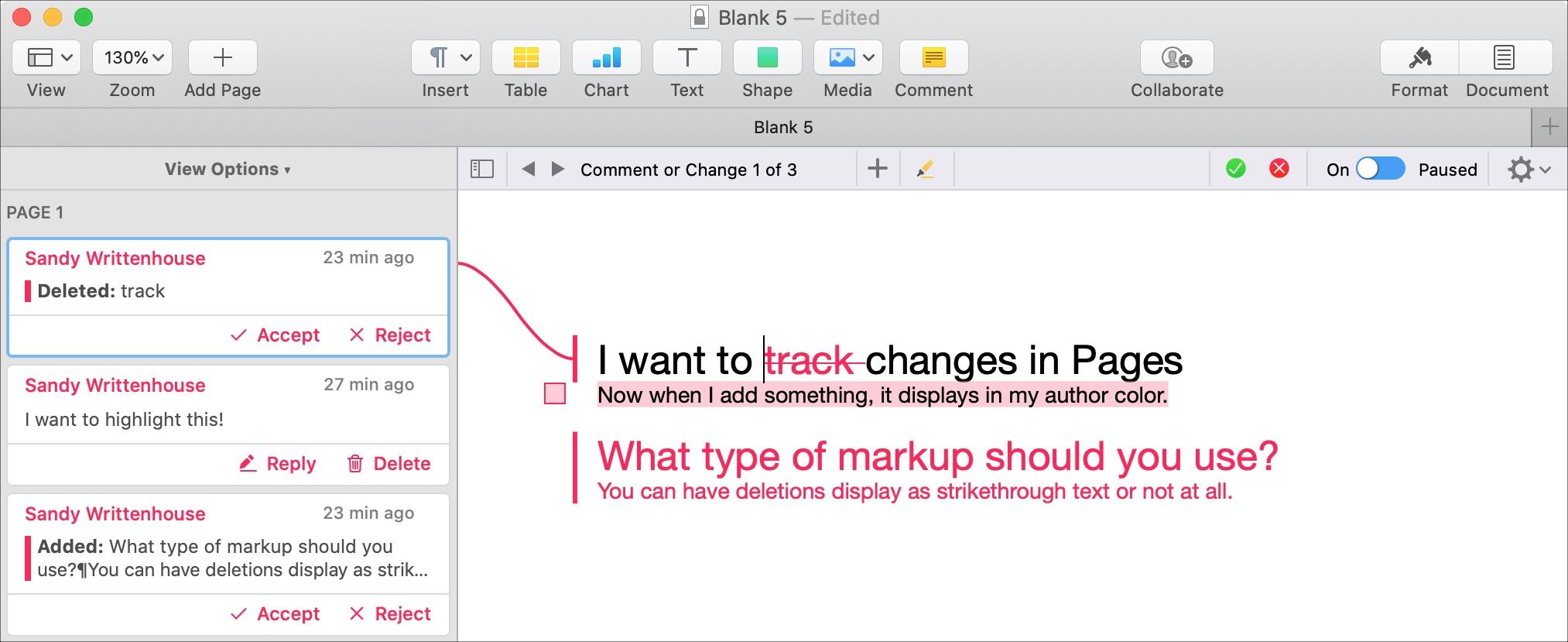 Stránky pre Mac Komentáre a zmeny Panel Pripojiť