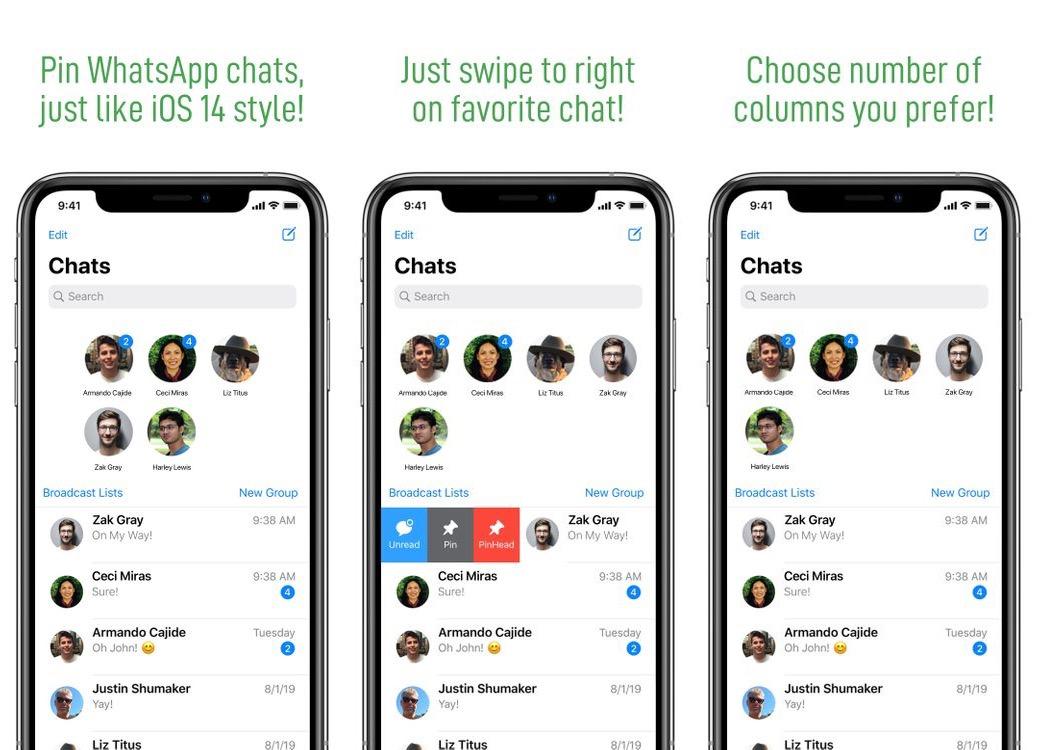 PinHeads WhatsApp prenáša konverzáciu z iOS 14 pripnutím používateľského rozhrania do WhatsApp 1
