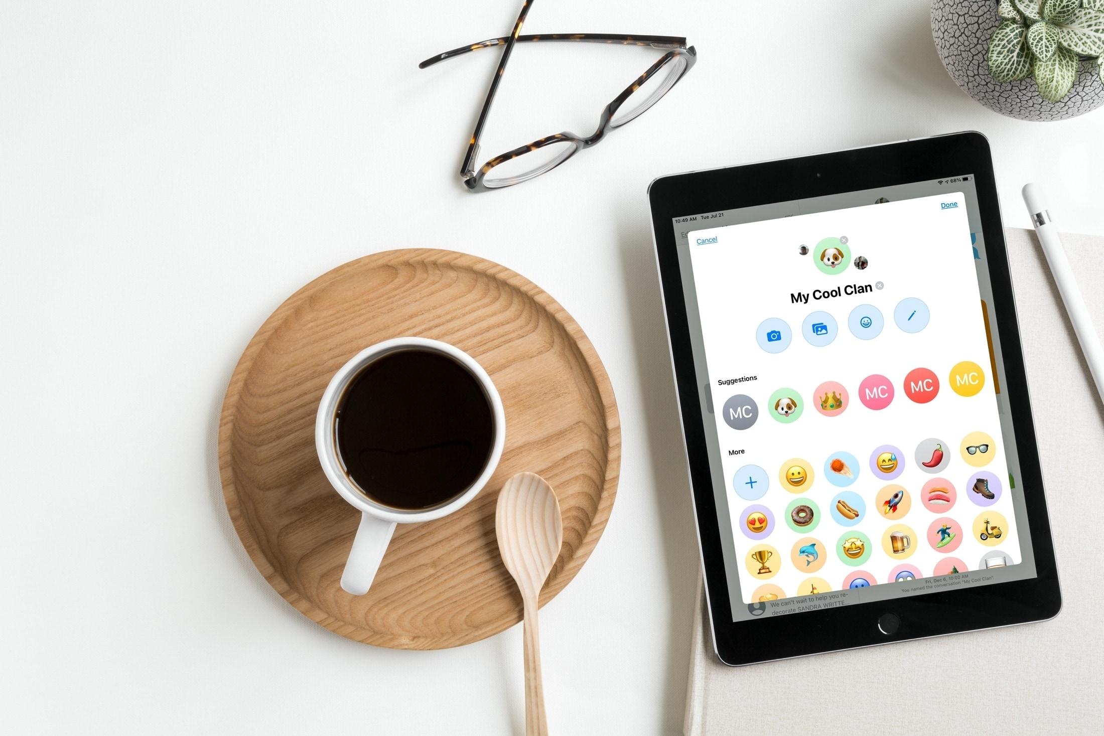 Adicionar mensagens fotográficas aos bate-papos em grupo do iPad